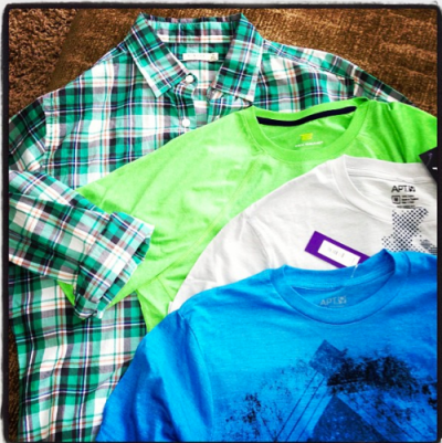 A few of his new shirts.