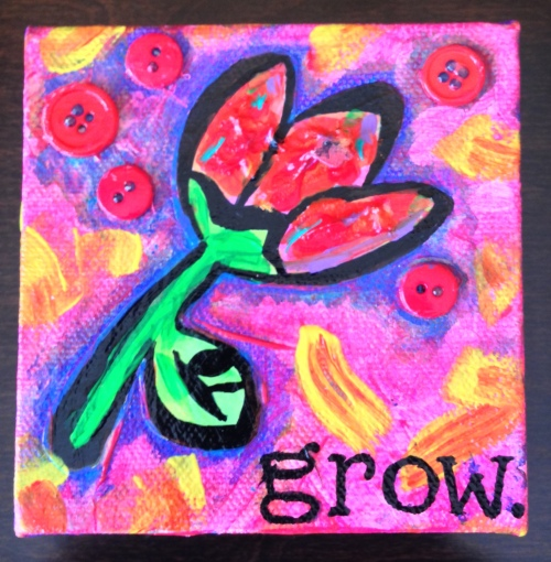GROW is a 4×4 canvas featuring acrylic paint, texturizing medium & buttons. Just $20. Interested? Type SOLD in the comments or email me at rasjacobson.ny@gmail.com