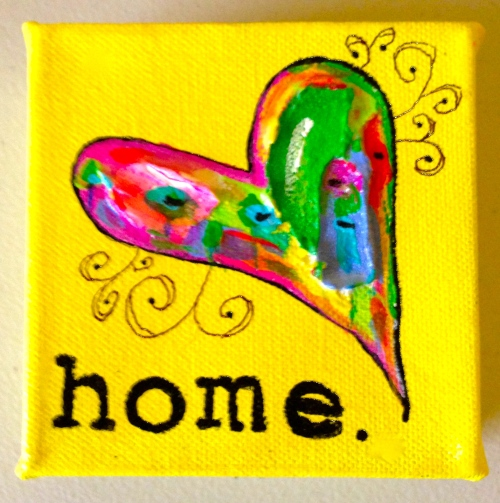 HOME, a 4x4 canvas featuring acrylic paint & texturizing medium. Makes a great gift!