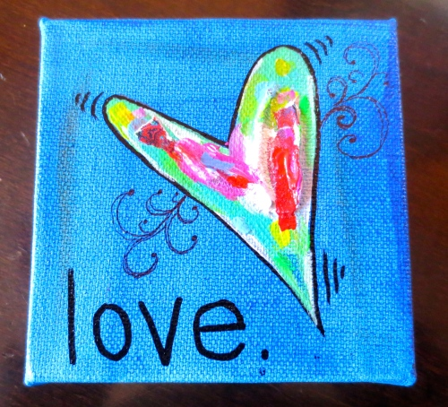 "Featuring acrylic paint & texturizing medium, LOVE, a 4""x4"" canvas is just $20."