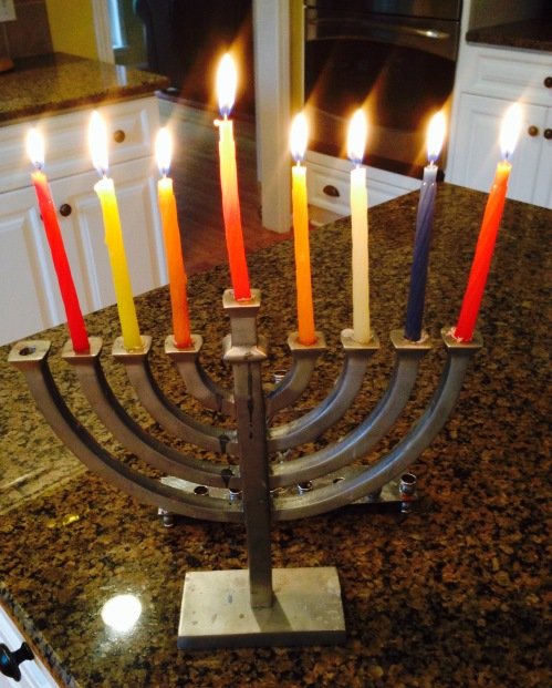 This menorah is my least favorite: the candles don't fit in the holes and it's kinda boring. But it was my first menorah. I can't retire it.