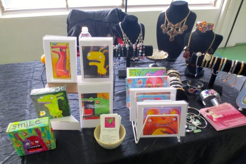 My handmade cards & canvases paired with Pretty Bird jewelry