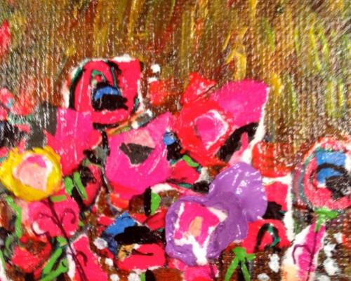 Blobs of paint featuring texturizing medium.