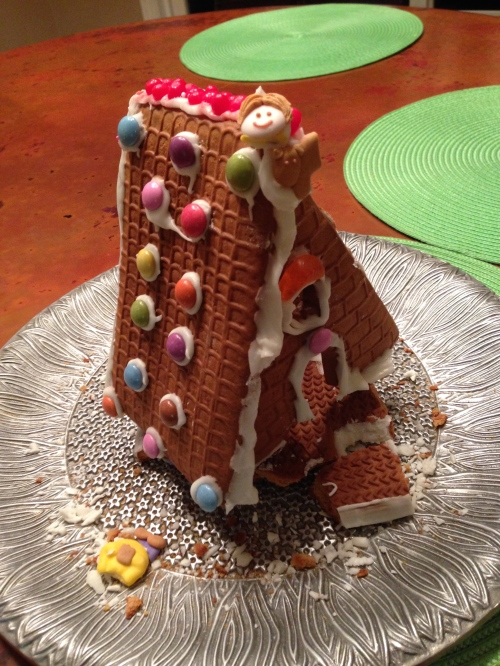 The state of our gingerbread house last week.